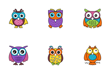 Baby Owl Cartoon Vector Icons Icon Pack
