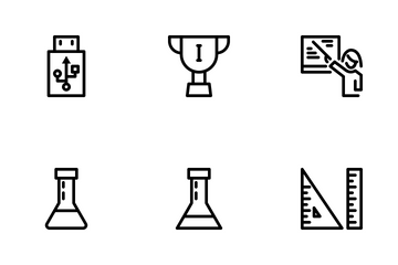 Back To School Black Outline Icon Pack