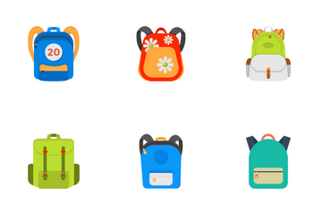 Back To School Kids School Backpack Icon Pack