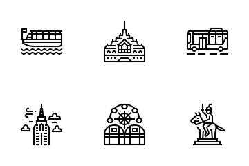 Bangkok Symbols And Landmarks Icon Pack