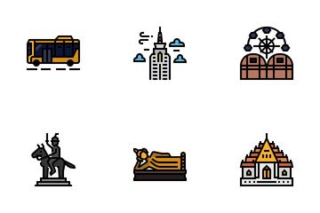 Bangkok Symbols And Landmarks Icon Pack