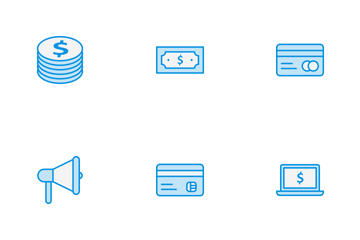 Banking Blue Line Icon Pack