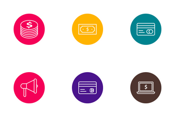 Banking Outline Circle Icon Pack