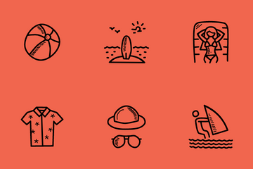 Beach Doodles Icon Pack