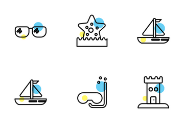 Beach Yellow And Blue Design Icon Pack