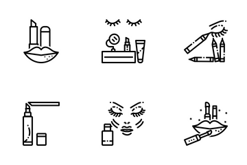 Beauty & Cosmetics 1 Line Icon Pack