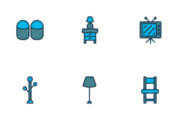 Bedroom Icon Filled Outline Icon Pack