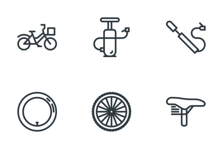 Bicycle & Components Icon Pack