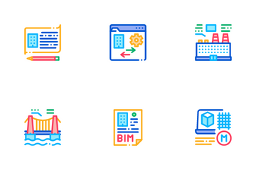 Bim Building Information Modeling Icon Pack