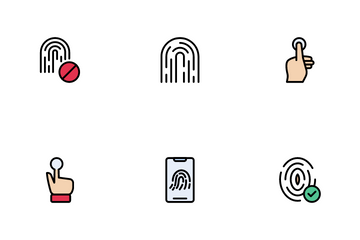 Biometric Authentication And QR Code Icon Pack