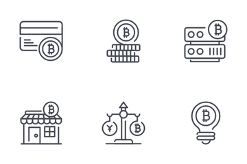 Bitcoin And Cryptocurrency Mining Icon Pack