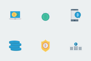 Bitcoin, Blockchain & Cryptocurrency Flat Vol 1 Icon Pack