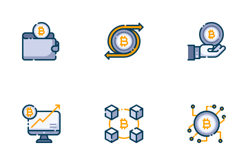 Bitcoin Cryptocurrency Filled Outline Icon Pack