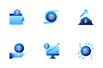 Bitcoin Cryptocurrency Flat Colors Icon Pack