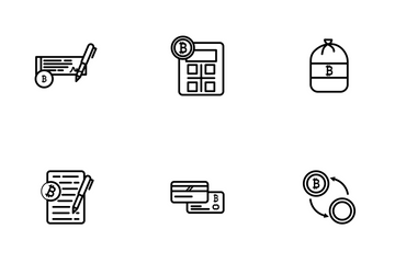 Bitcoin Outline Icon Pack