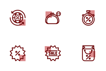 Black Friday Shape Colours Icon Pack
