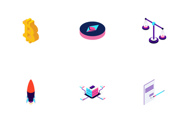 Blockchain Cryptocurrency Isometric Icon Pack