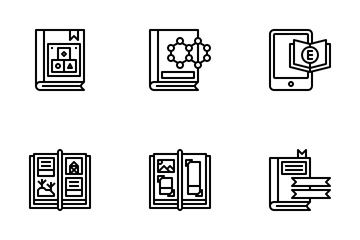 Bookstore Outline Icon Pack