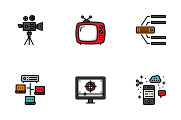 Broadcasting Fill Outline Icon Pack