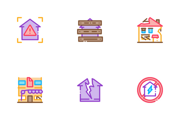 Broken House Building Icon Pack