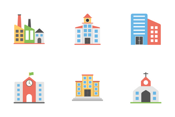 Buildings Flat Icons Icon Pack