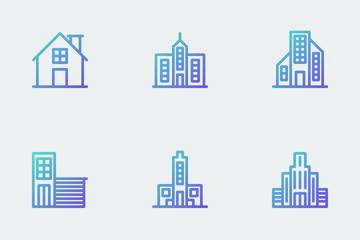Buildings - Gradient Line Icon Pack
