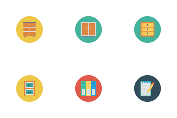 Business And Office Flat Circle  Icon Pack