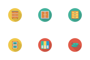 Business And Office Flat Circle Shadow Icon Pack