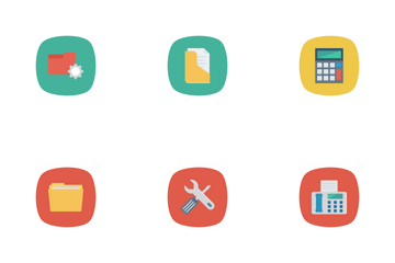 Business And Office Flat Rounded Icon Pack