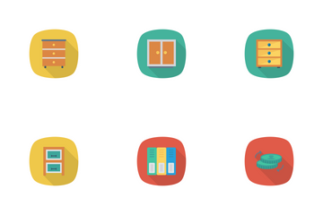 Business And Office Flat Rounded Shadow Icon Pack