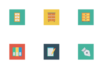 Business And Office Flat Square Icons Icon Pack