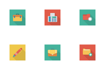 Business And Office Flat Square Shadow Icon Pack
