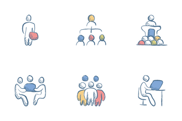 Business Team Related Hand Drawn Icon Pack