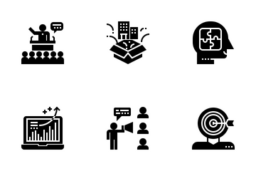Business Consultant Glyph Icon Pack