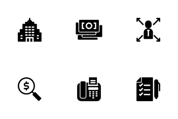 Business Finance Glyph Icon Pack