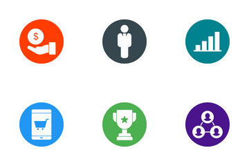 Business Glyph Circle Icon Pack