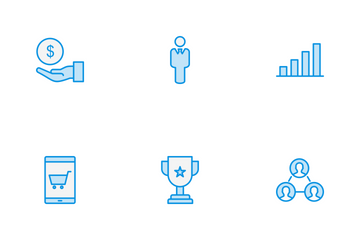 Business Line Blue Icon Pack