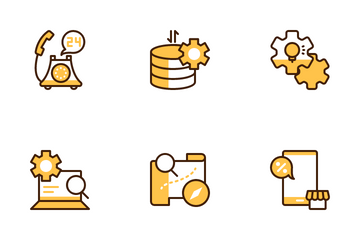 Business Marketing 1 Yellow Icon Pack