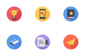 Business & SEO Flat Circules Icon Pack