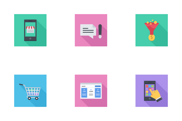 Business & SEO Flat Squares Icon Pack