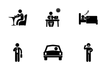 Businessman Daily Routine Icon Pack