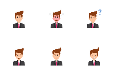Businessman Face Expressions Avatars - Black  Icon Pack