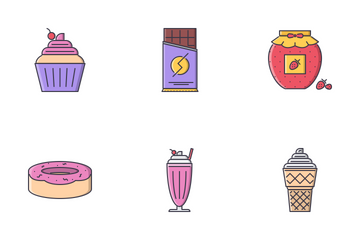 Cafe Filled Outline Icon Pack