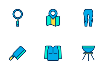 Camping - Lineal Color Icon Pack
