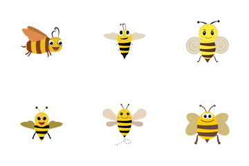 Cartoon Bee Icon Pack