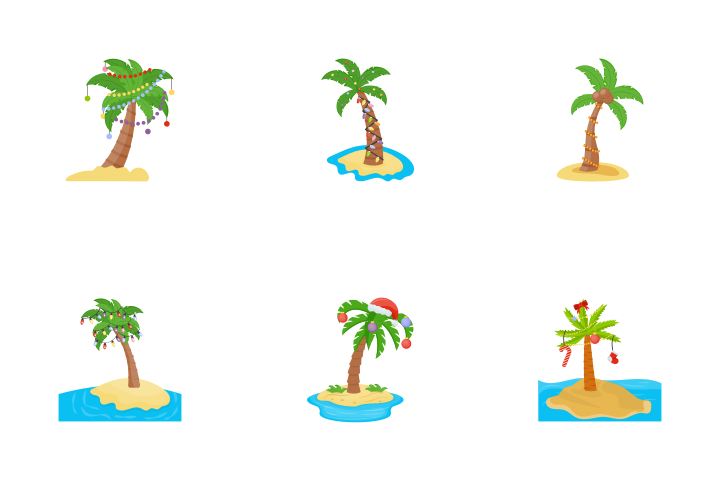 Cartoon Christmas Palm Trees Icon Packs Available In Svg Png Eps