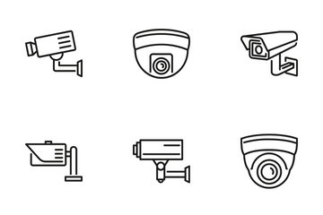 CCTV Cameras & Security Camera Systems Icons. Icon Pack