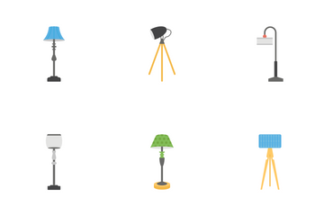 Ceiling Table And Floor Lamps Icon Pack
