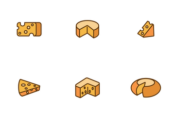 Cheddar Cheese Linear Icon Pack