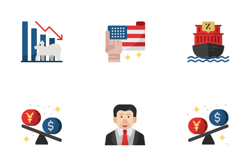 China And USA Trade War Icon Pack